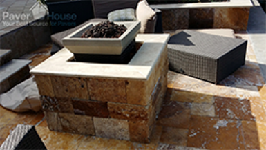 Travertine Paver Installation Waterfront patio